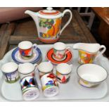 A Wedgwood limited edition tea set of 19 pieces, in the Clarice Cliff manner