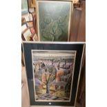 """John Liddell: """"Southampton1968"""", artist signed print, 55 x 35 cm, framed and glazed; John Hunter:"""