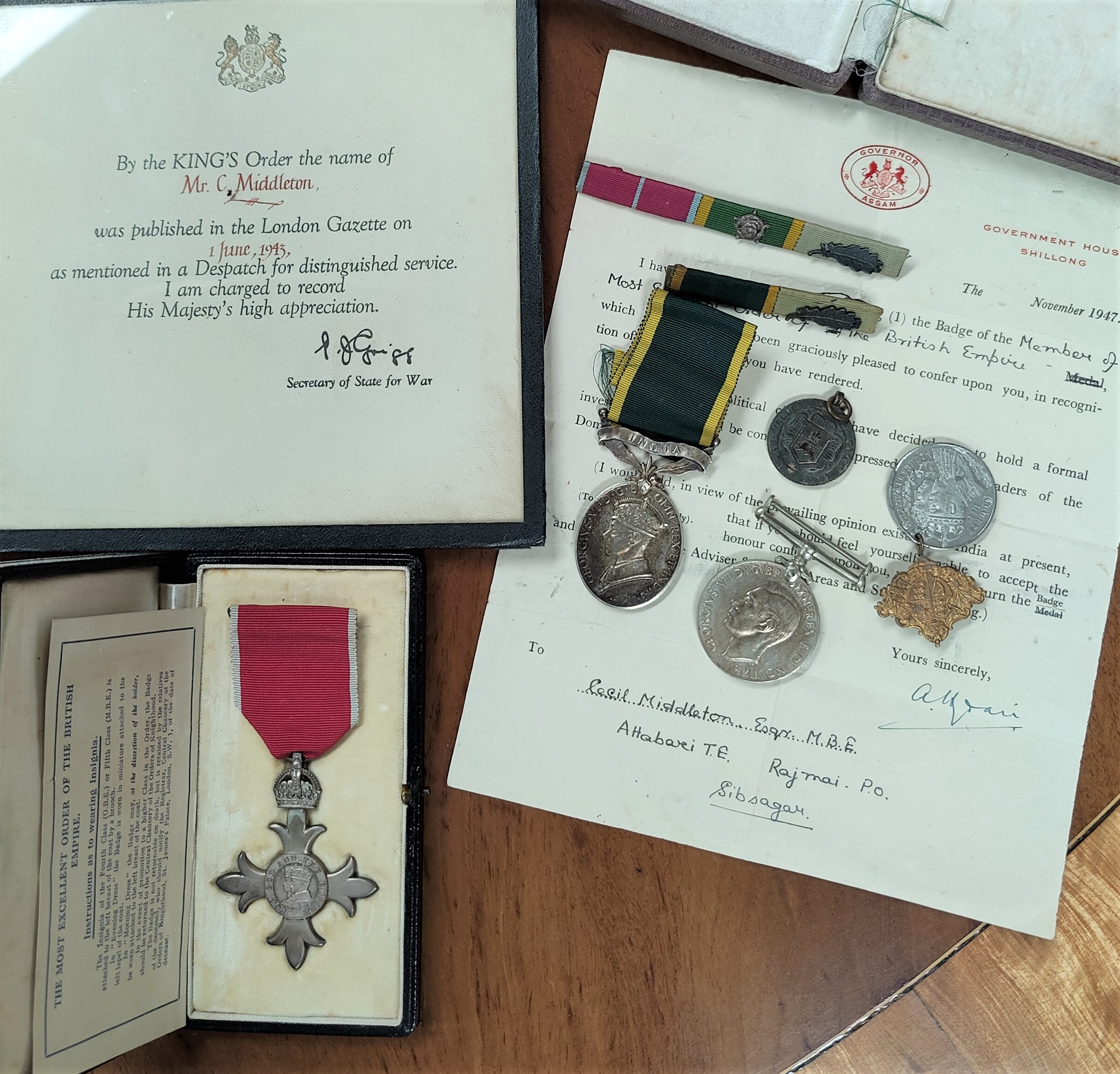 A WWII group of 3 medals to F.Sjt Cecil Middleton Assam Volunteer Light Horse, AFI, comprising M.B.