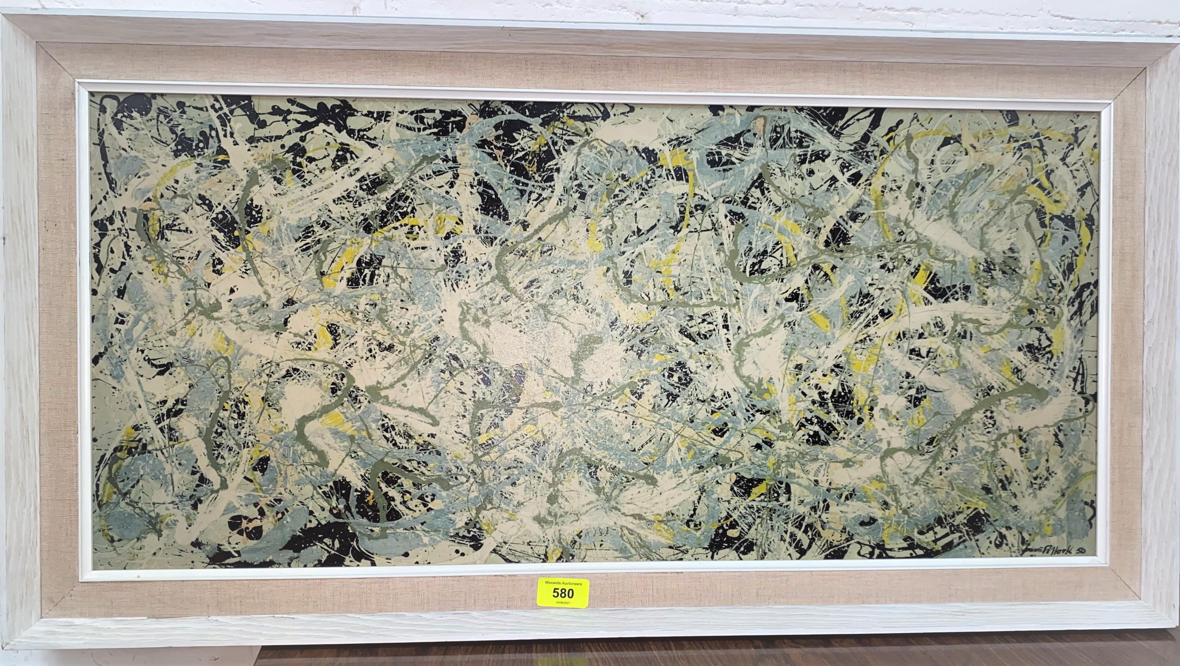 JACKSON POLLOCK: A 1970's process print including signature 50 x 35 x 74cm, contemporary frame