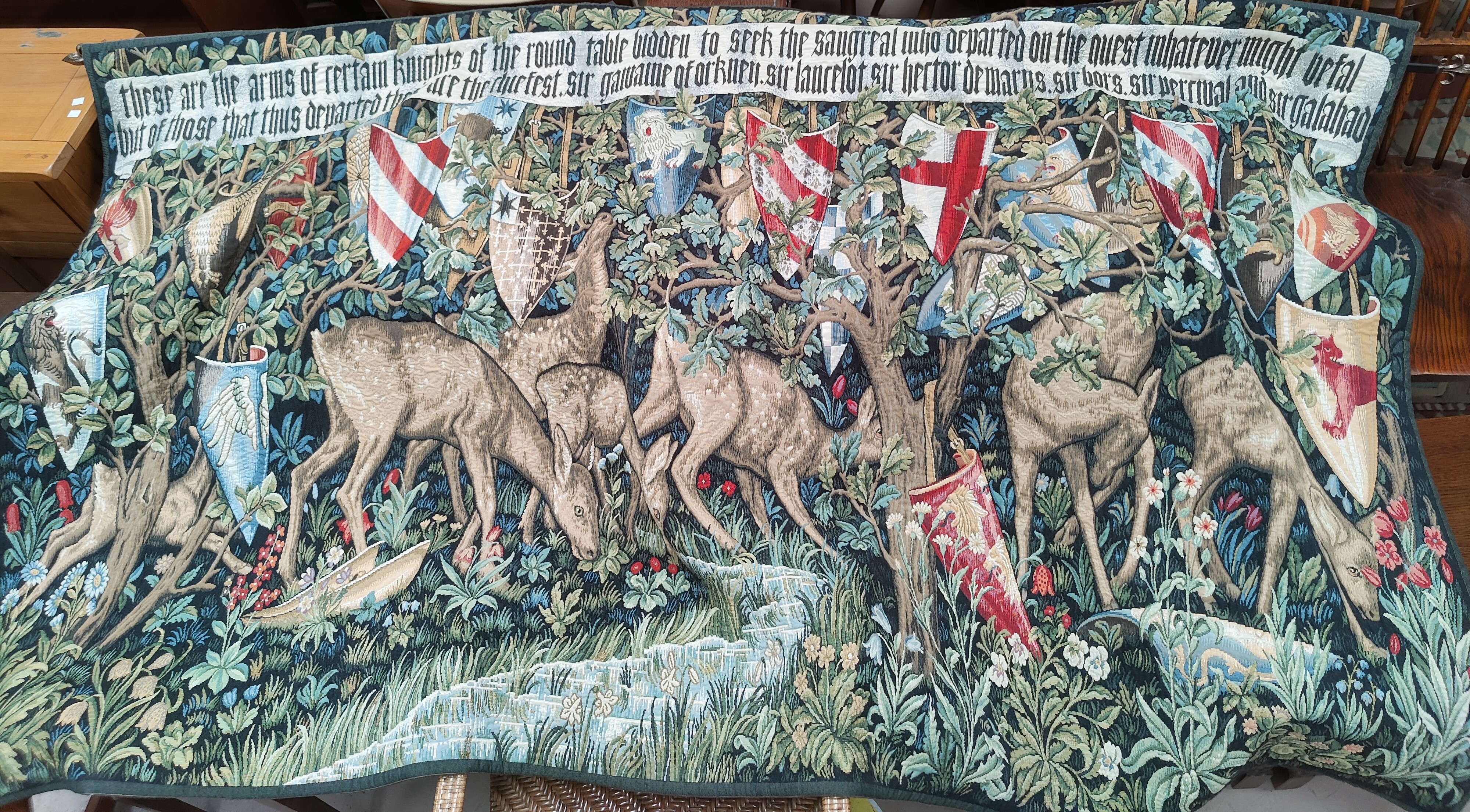 """A modern tapestry wall hanging in the pre-Raphaelite style """"These are the arms of certain Knights of"""