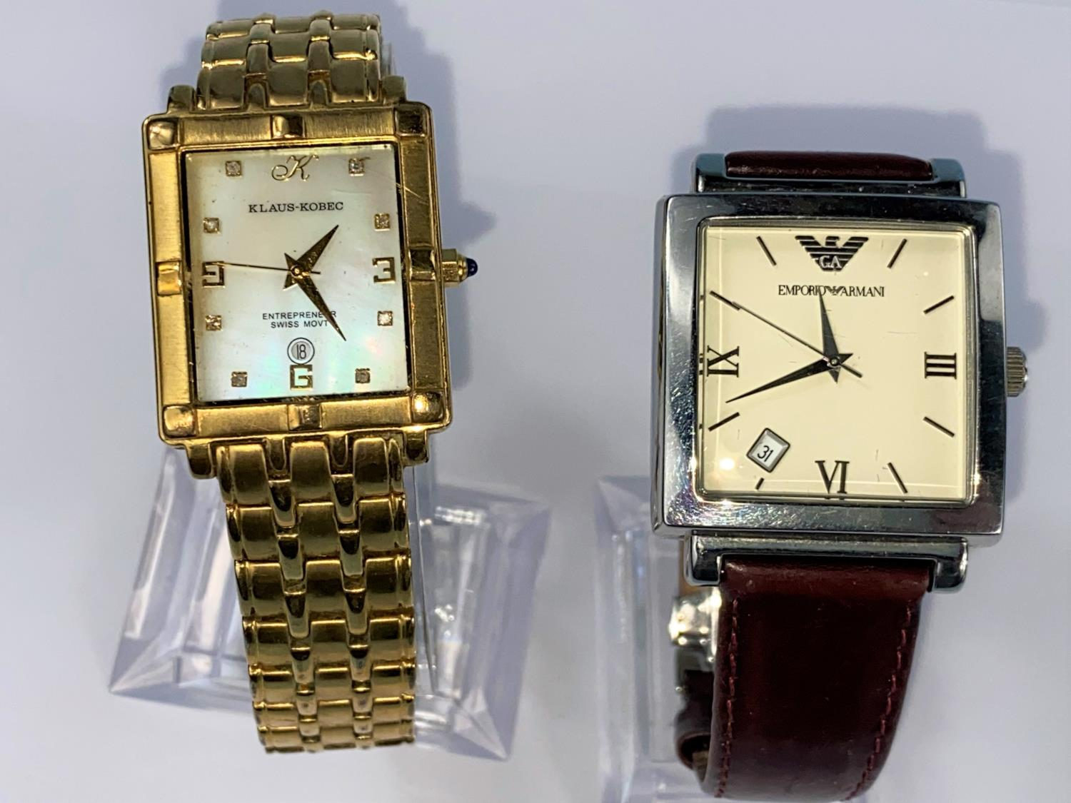 A Gent's Emporio Armani wristwatch and a Klaus Kobec wristwatch with mother of pearl dial and gilt