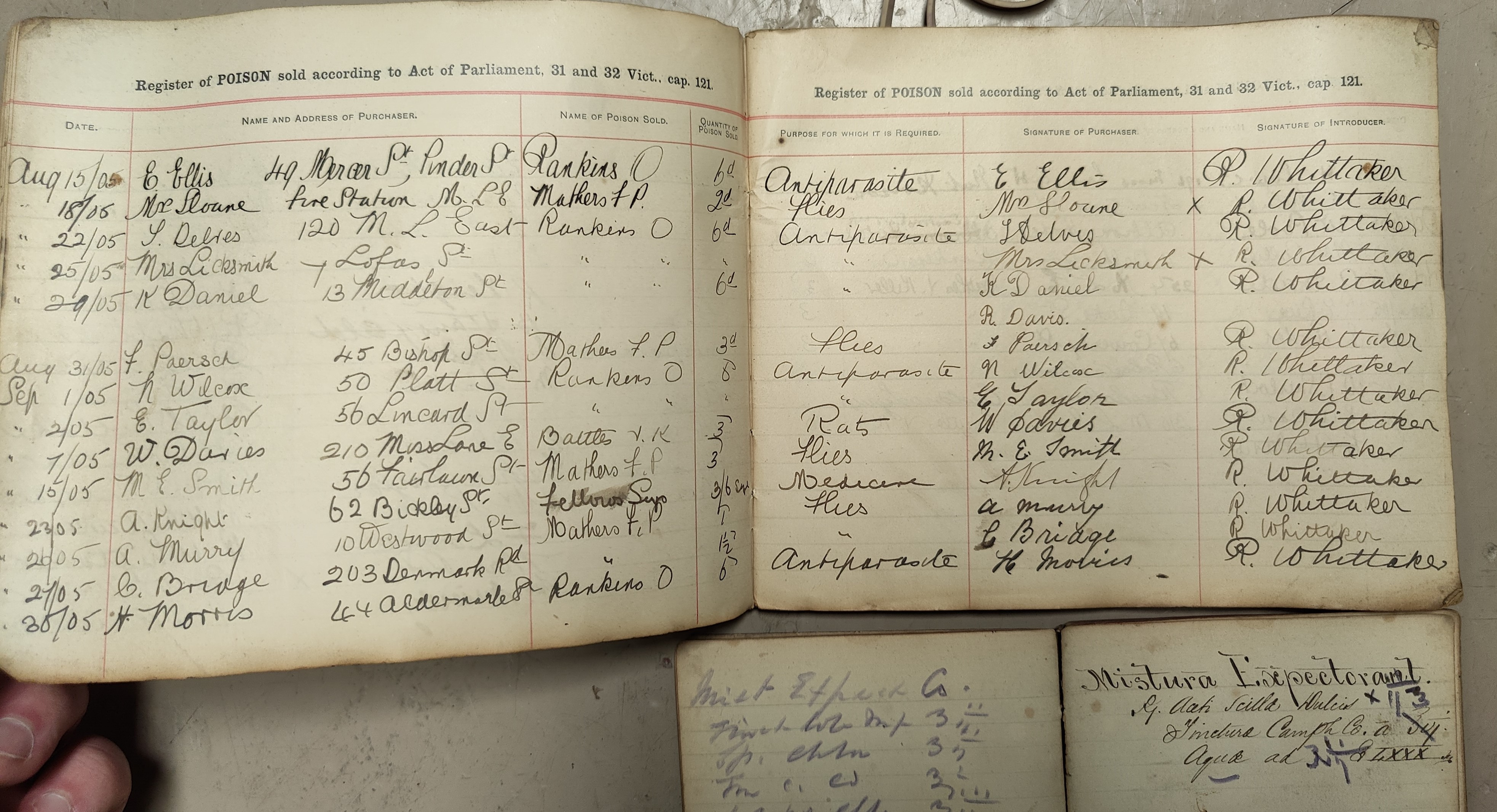 A 19th Century pharmacy receipt book, 29 LL and a poison register with entries starting 1904. - Image 2 of 2