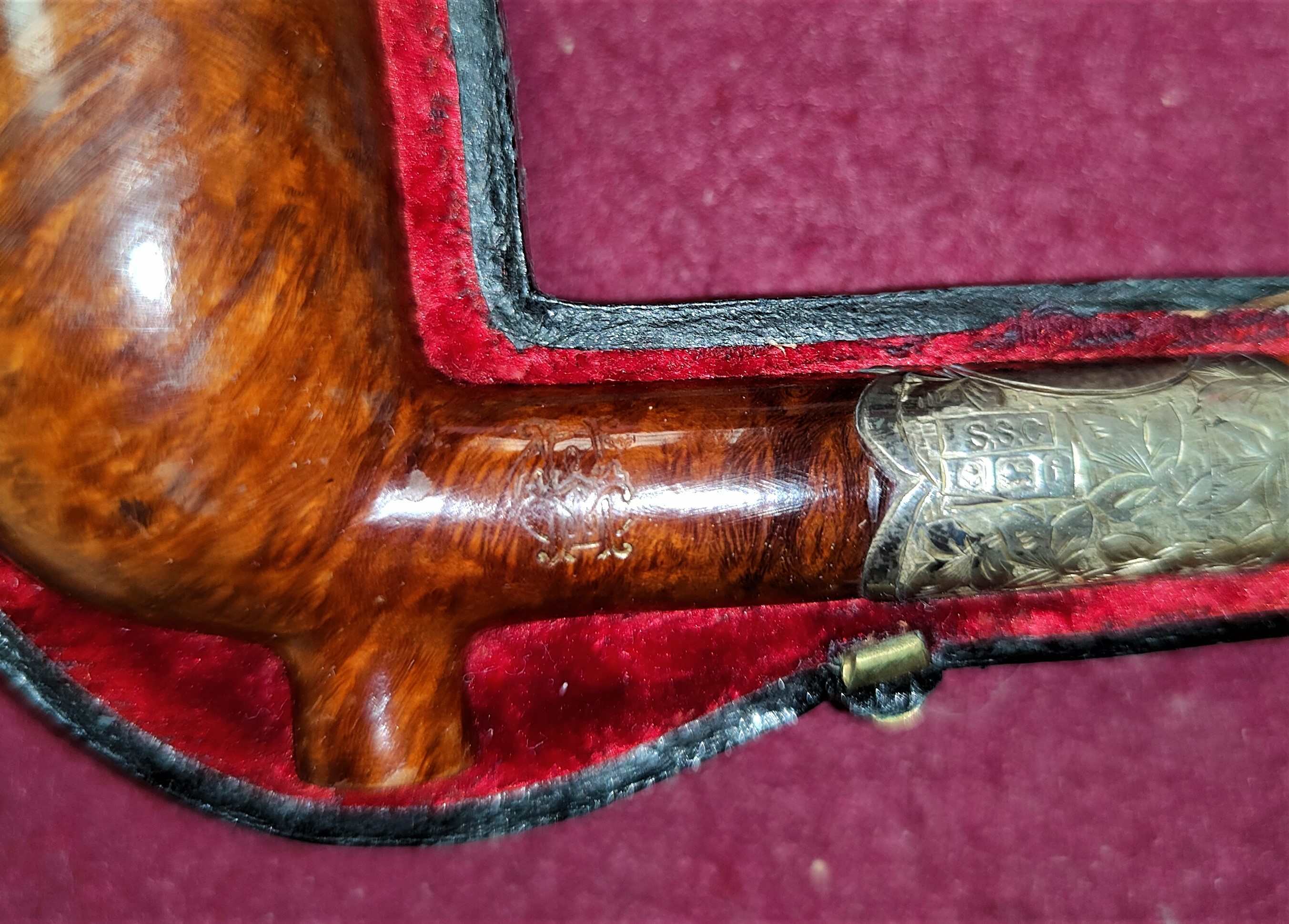 A 19th century briar pipe with silver mounts (dated 1883) and amber mouthpiece, cased - Image 2 of 2