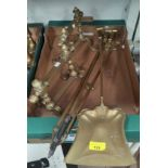 A set of 3 Art Nouveau brass fire irons and a pair of contemporary andirons