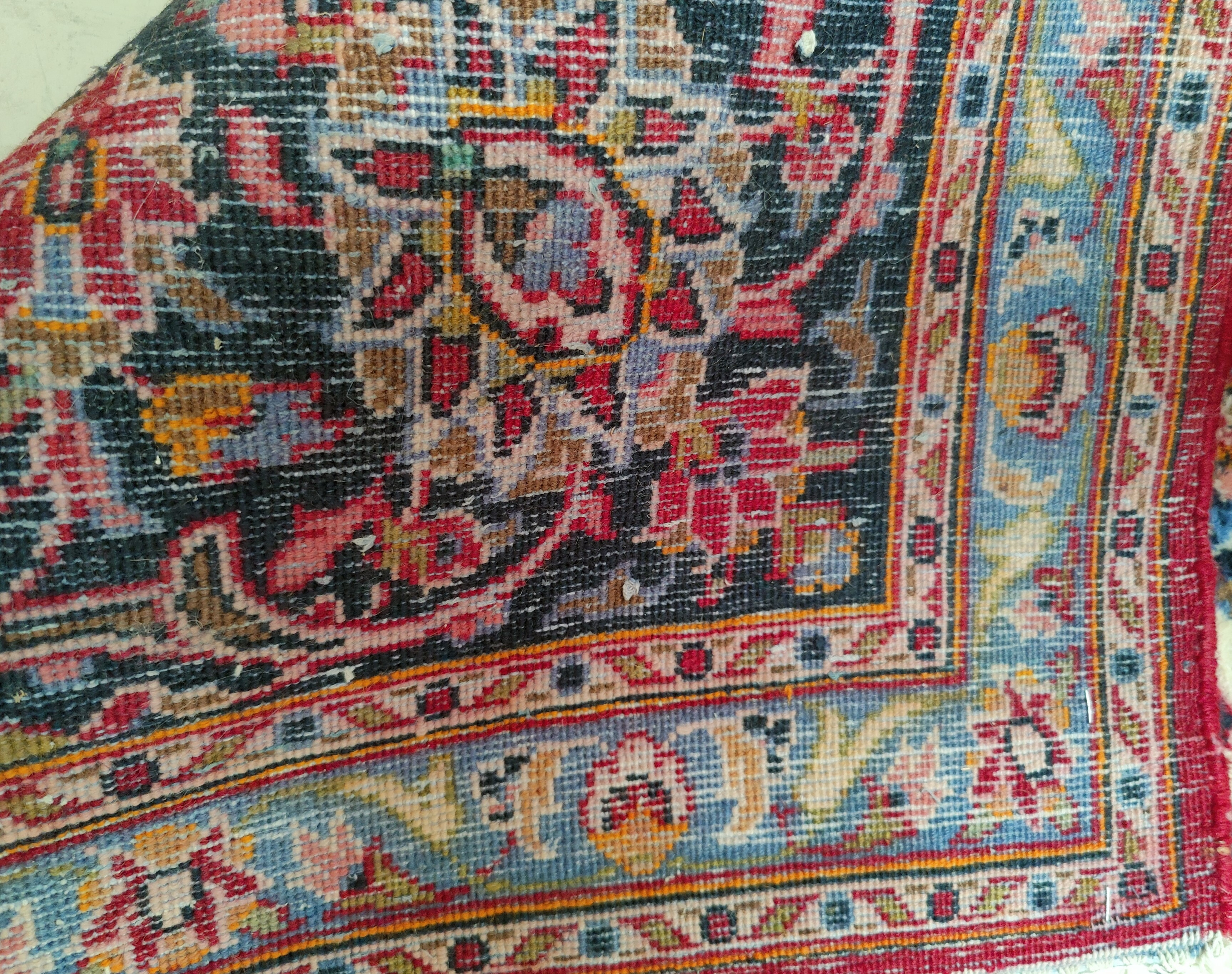 A mid 20th century Turkoman carpet, floral motifs on red ground multi-coloured, 9.5' x 12.5' approx - Image 2 of 4