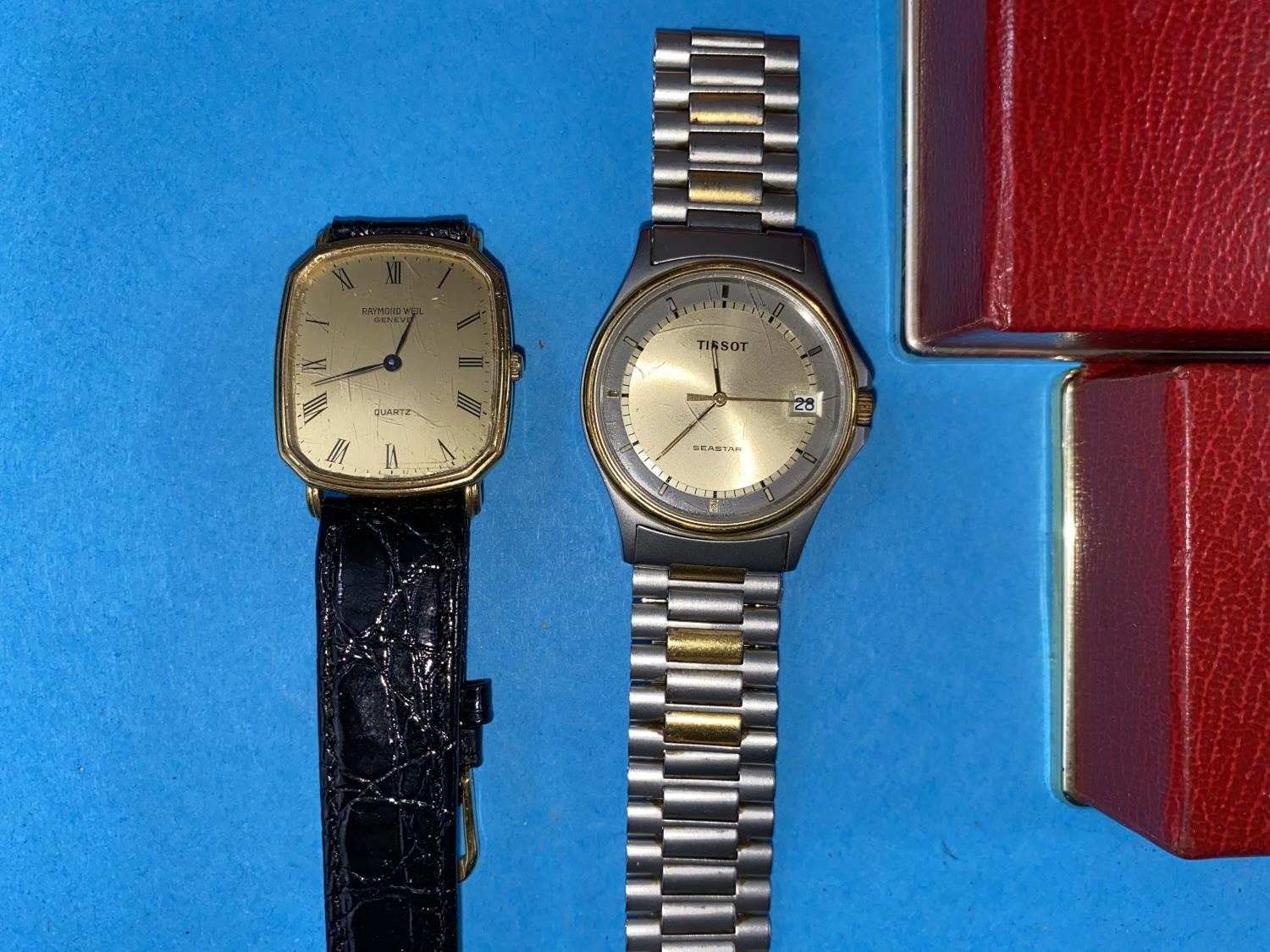 3 Omega watch cases, Tissot Seastar and a Raymond Weil watch - Image 2 of 2