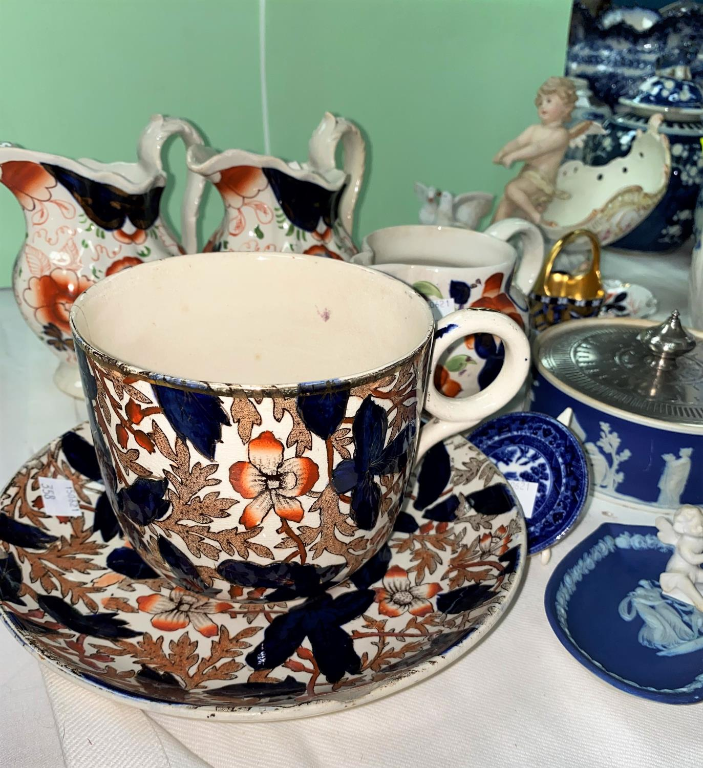 An Adams blue jasperware biscuit barrel with silver plated mounts, 16 cm; other similar pieces - Image 2 of 5