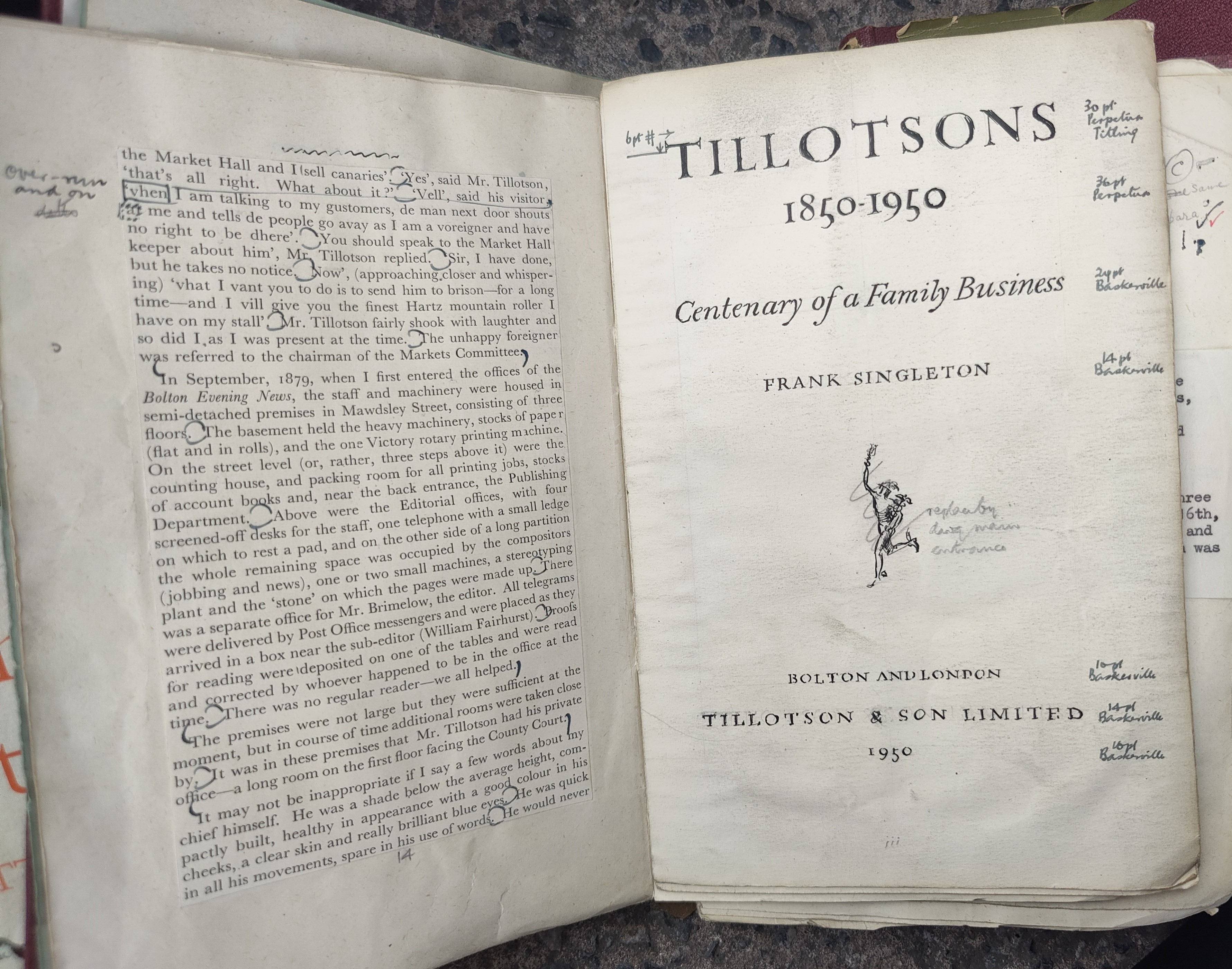 SINGLETON(F) -Tillotson's 1850-1950, with printers mock up copy with proof corrections, 2 related - Image 3 of 3
