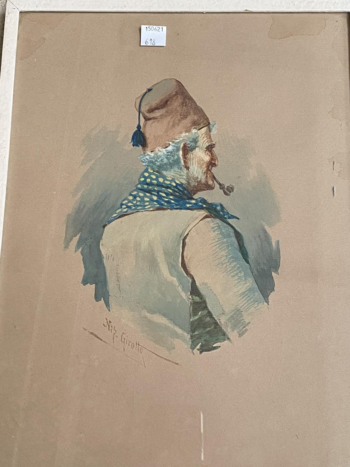 Nap Girotto: Peasant man in fez, smoking a pipe, watercolour, signed, 34 x 24 cm, framed and glazed