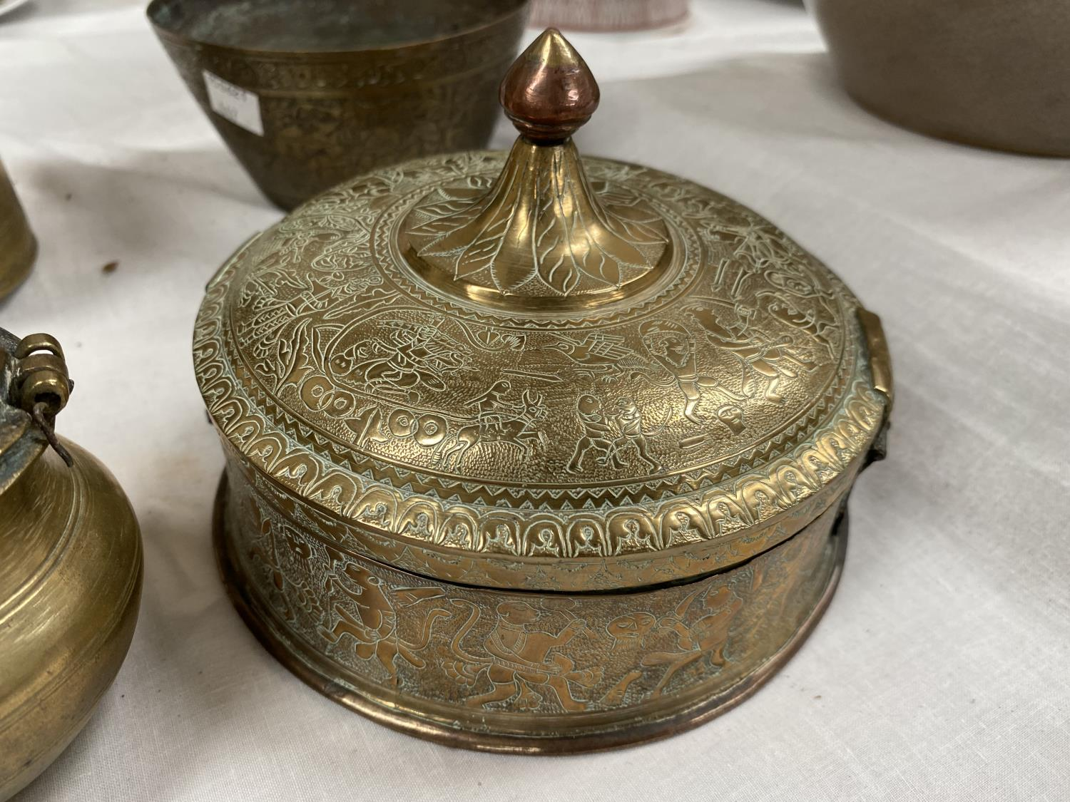 A Indian brass 4 section spice holder; a brass and copper Indian betel container and 2 Indian - Image 4 of 4