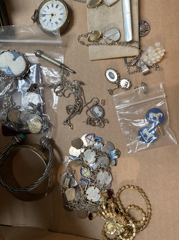 A hallmarked silver bracelet; a white metal charm bracelet; a white metal fob watch; white metal and - Image 2 of 2
