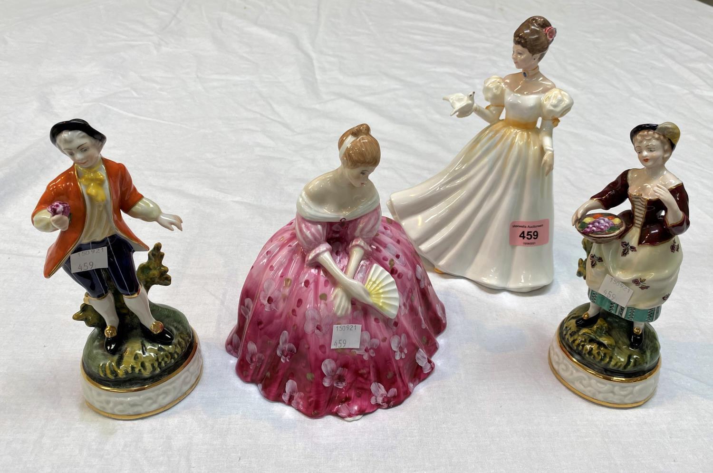 Two Royal Doulton figures: Kathleen, HN 3609 & Victoria, HN 2471; a pair of Dresden figures: