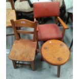 2 child's chairs; 2 stools