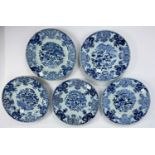 5 various Chinese blue and white plates decorated with flowers, d. 23cm (plates with chips to rims)