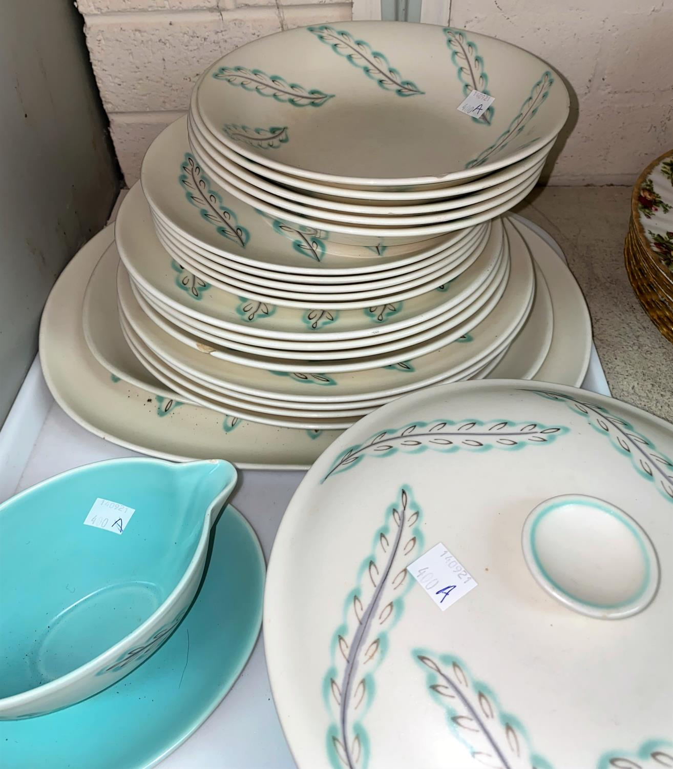 A Poole pottery part dinner service, 1950's hand painted free form design, 22 pieces - Image 2 of 2