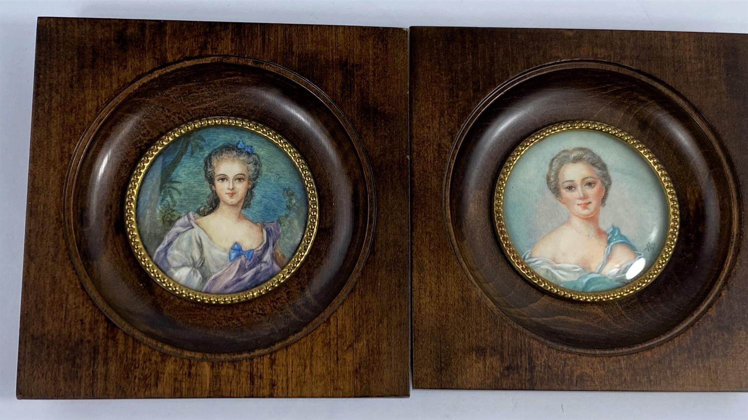 Two hand painted portrait miniatures: Mdme de Pompadour and Madame Adelaide, signed, diameter 55 mm,