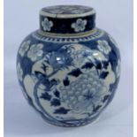 A 19th century Chinese porcelain ginger jar, blue and white decoration of flowers and birds, 20