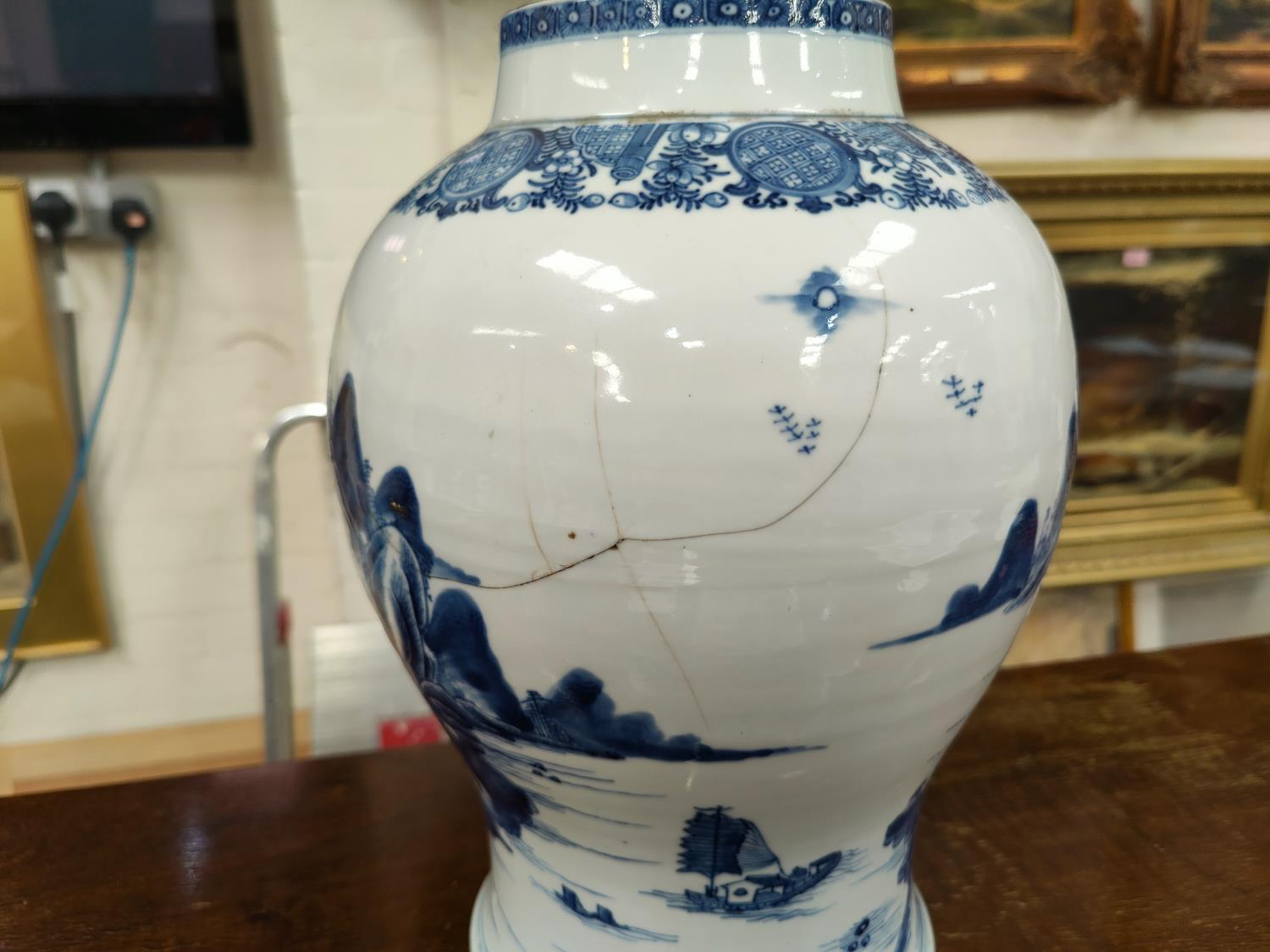 A large18th century Chinese Qianlong period blue and white inverted baluster lidded vase with - Image 4 of 6