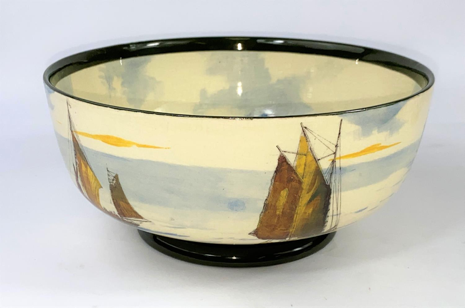 A Royal Doulton - decorated with sailing boats to the interior and exterior