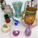 """A Clarice Cliff """"Celtic Harvest"""" preserve pot' a 1960's Poole vase; 2 Art Deco vases; etc."""