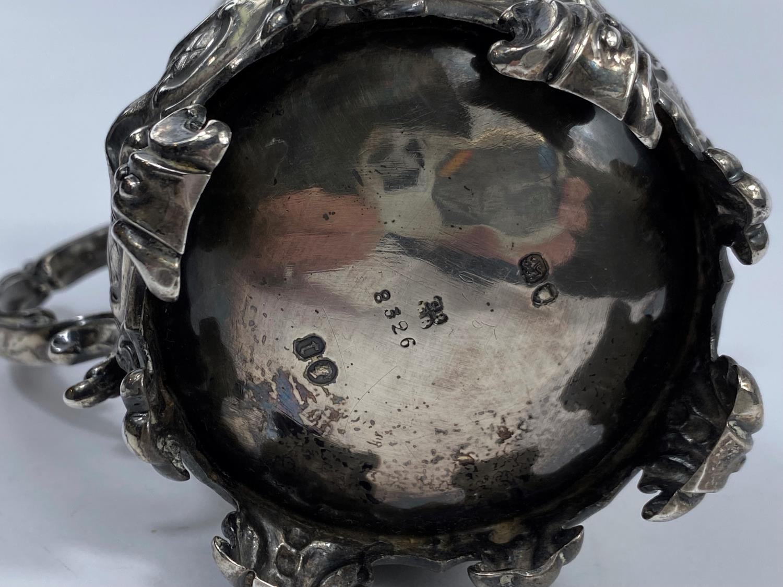 A hallmarked silver Victorian half pint mug on scroll feet, ornate decoration, inscribed, London - Image 5 of 5