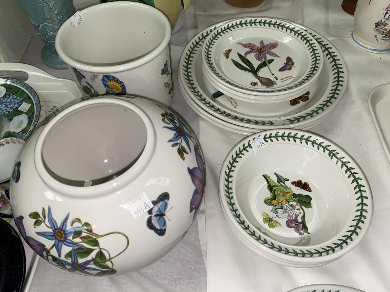 A Portmeirion 'The Botanic Garden' - three dinner plates, three side plates, three bowls, a globular