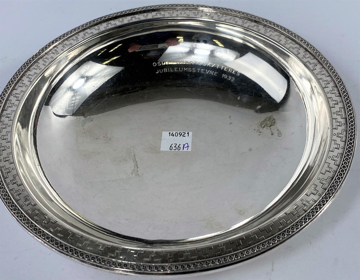 A continental shallow white metal dish with decorative rim and borders, with presentation - Image 2 of 4