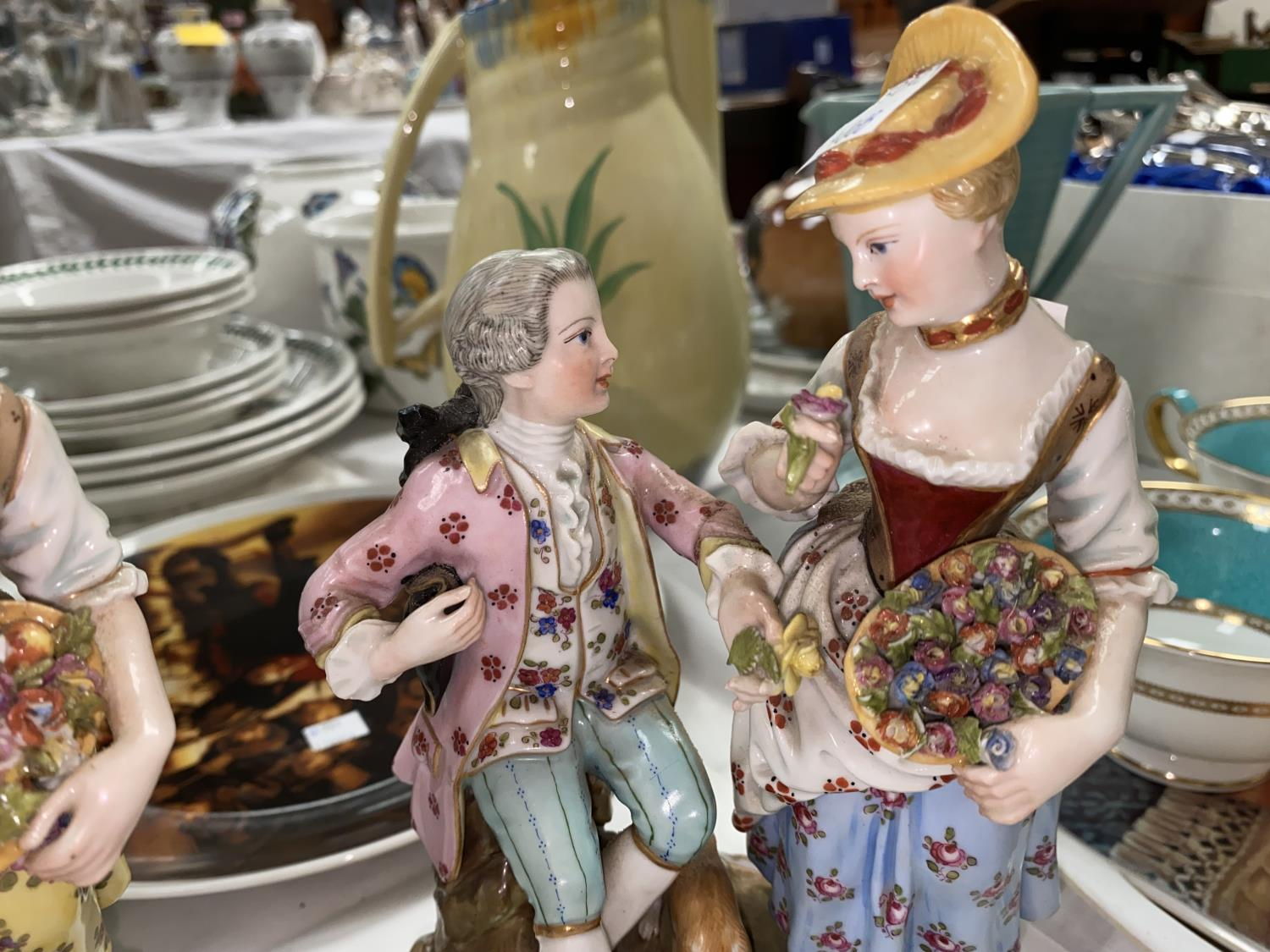 Two late 19th/early 20th century Meissen style groups of couples in 18th century dress (1 with - Image 4 of 4