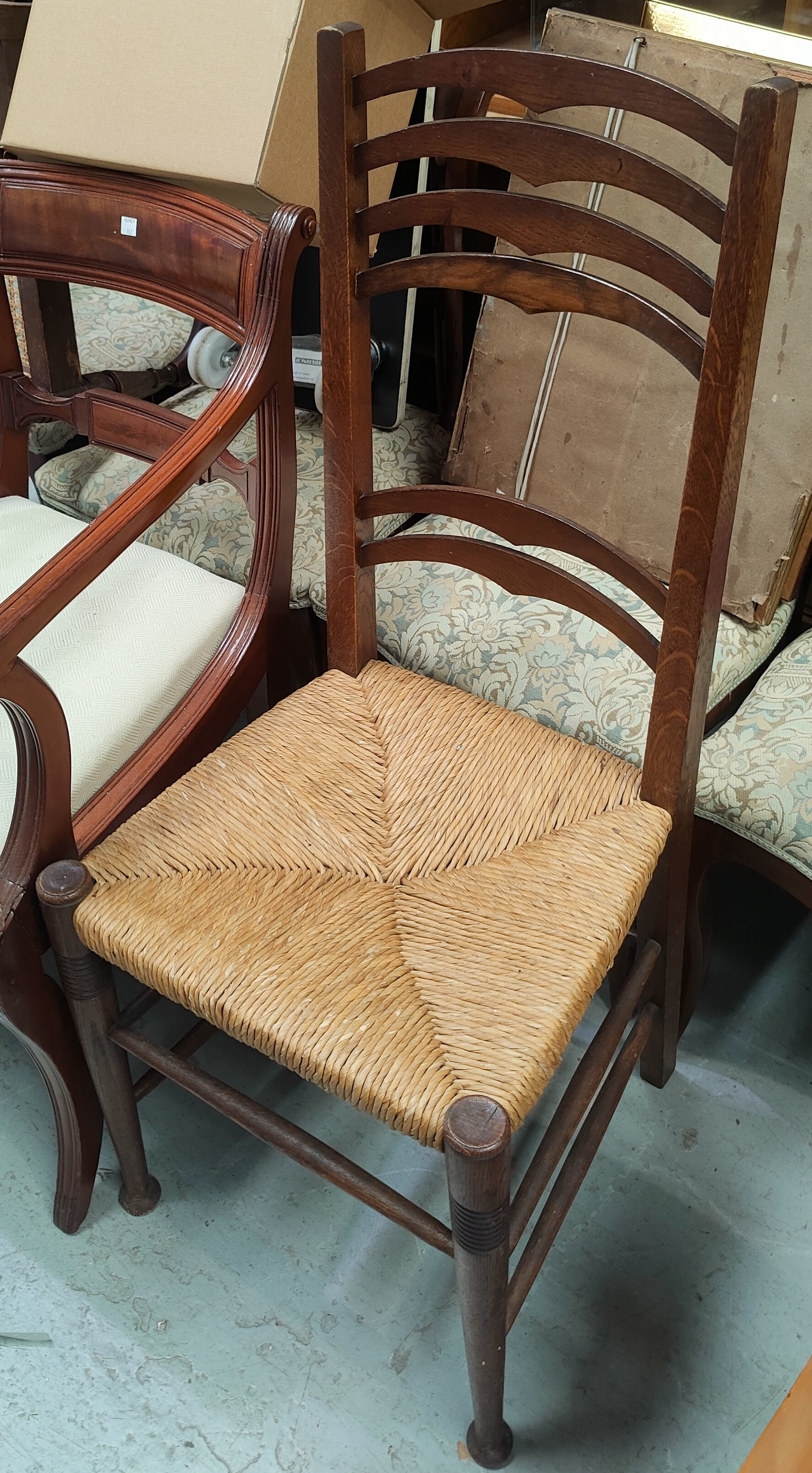 An Edwardian pair of Art Nouveau salon chairs with inlaid motif; an Arts & Crafts ladderback chair - Image 2 of 2