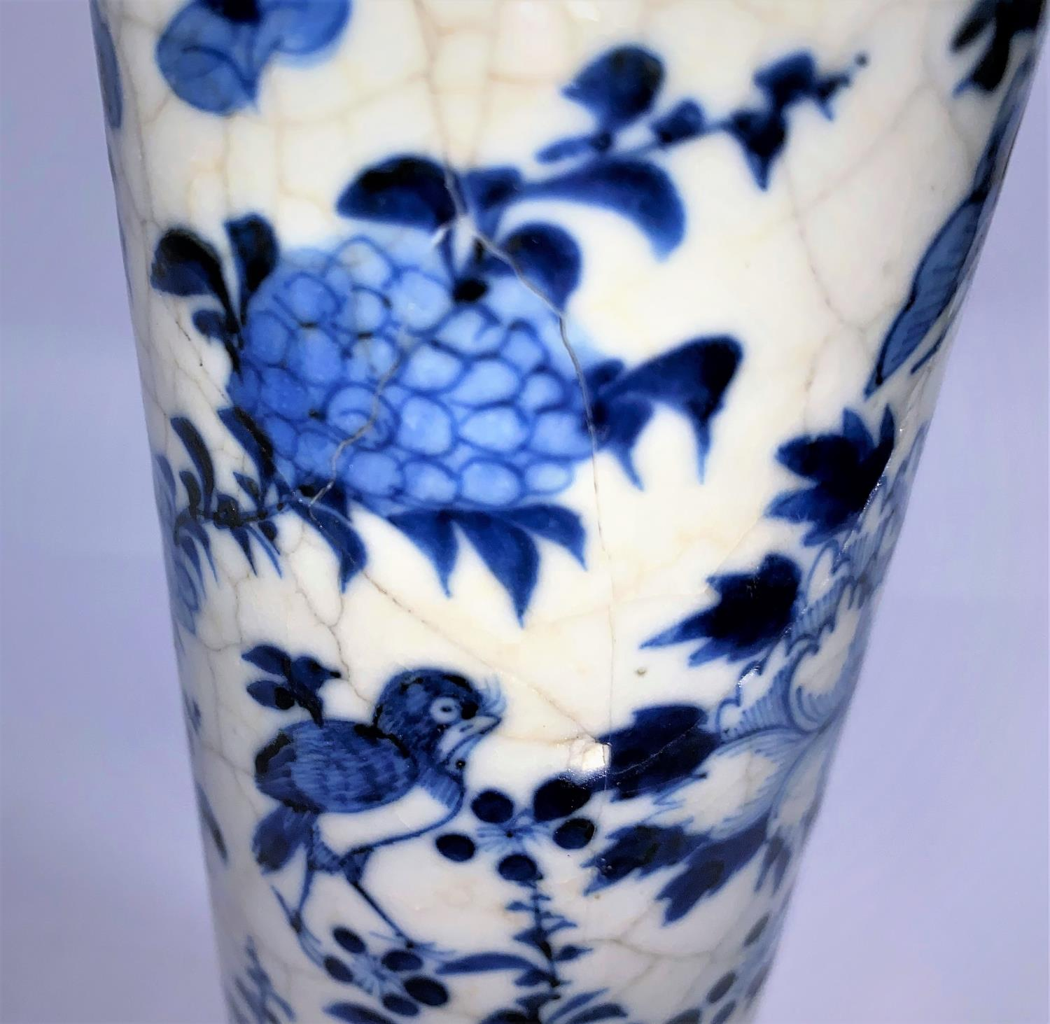 A Chinese blue and white crackle glaze sleeve vase (re-glued), ht. 26cm; 2 Chinese scholars (a.f.) - Image 9 of 9
