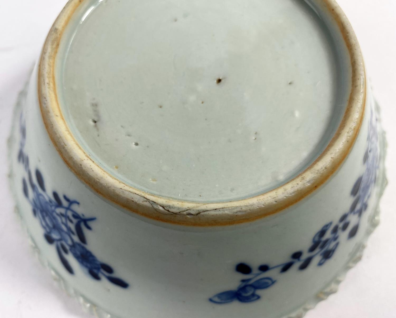 An 18th century Chinese blue and white porcelain bowl with pie crust rim decorated with antiques and - Image 5 of 5