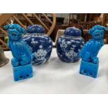 Two Chinese porcelain blue & white ginger jars, 15 cm; a pair of turquoise glaze lions