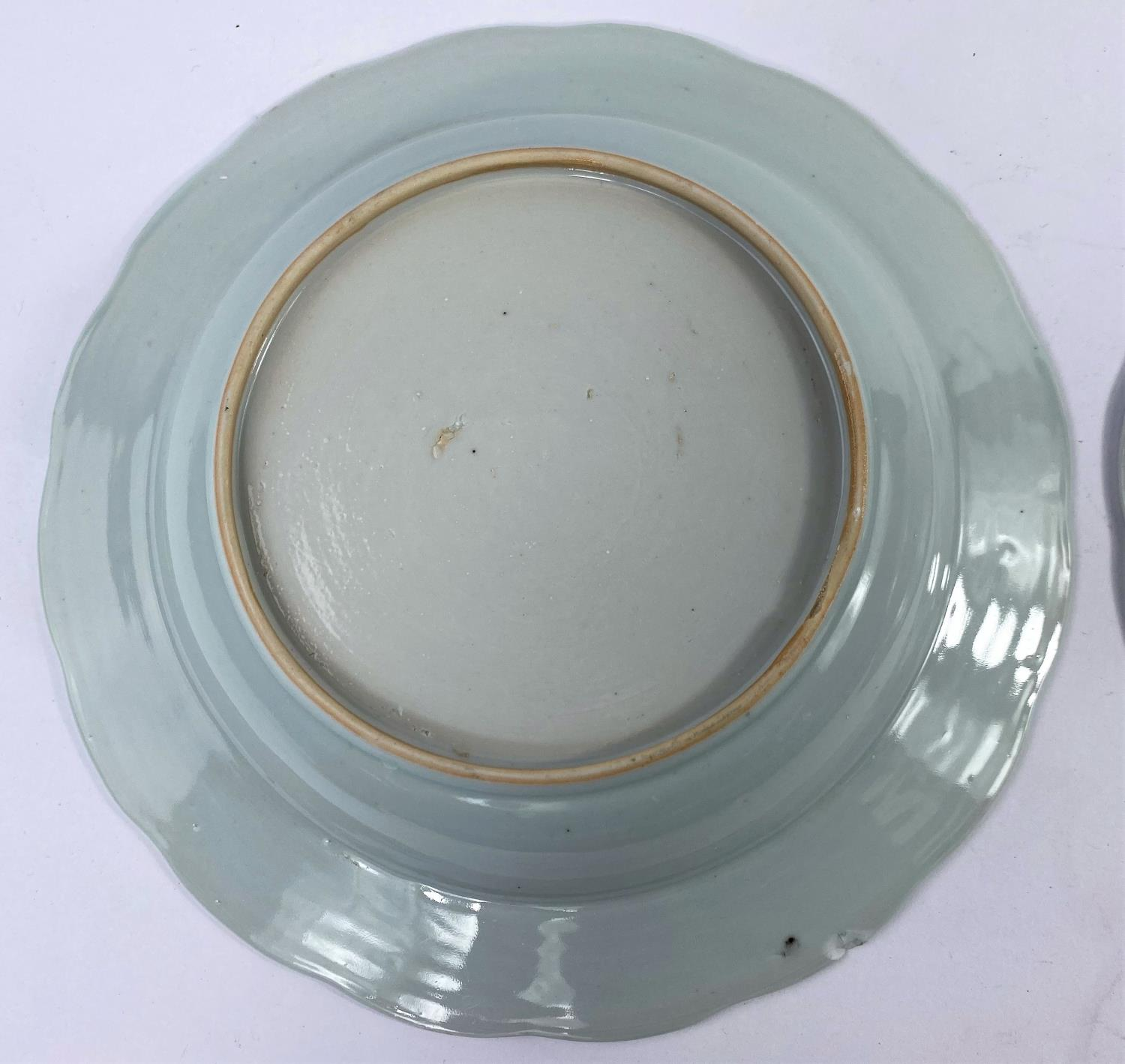 A pair of 18th century Chinese blue and white shallow dishes with traditional mountain scenes, - Image 6 of 6