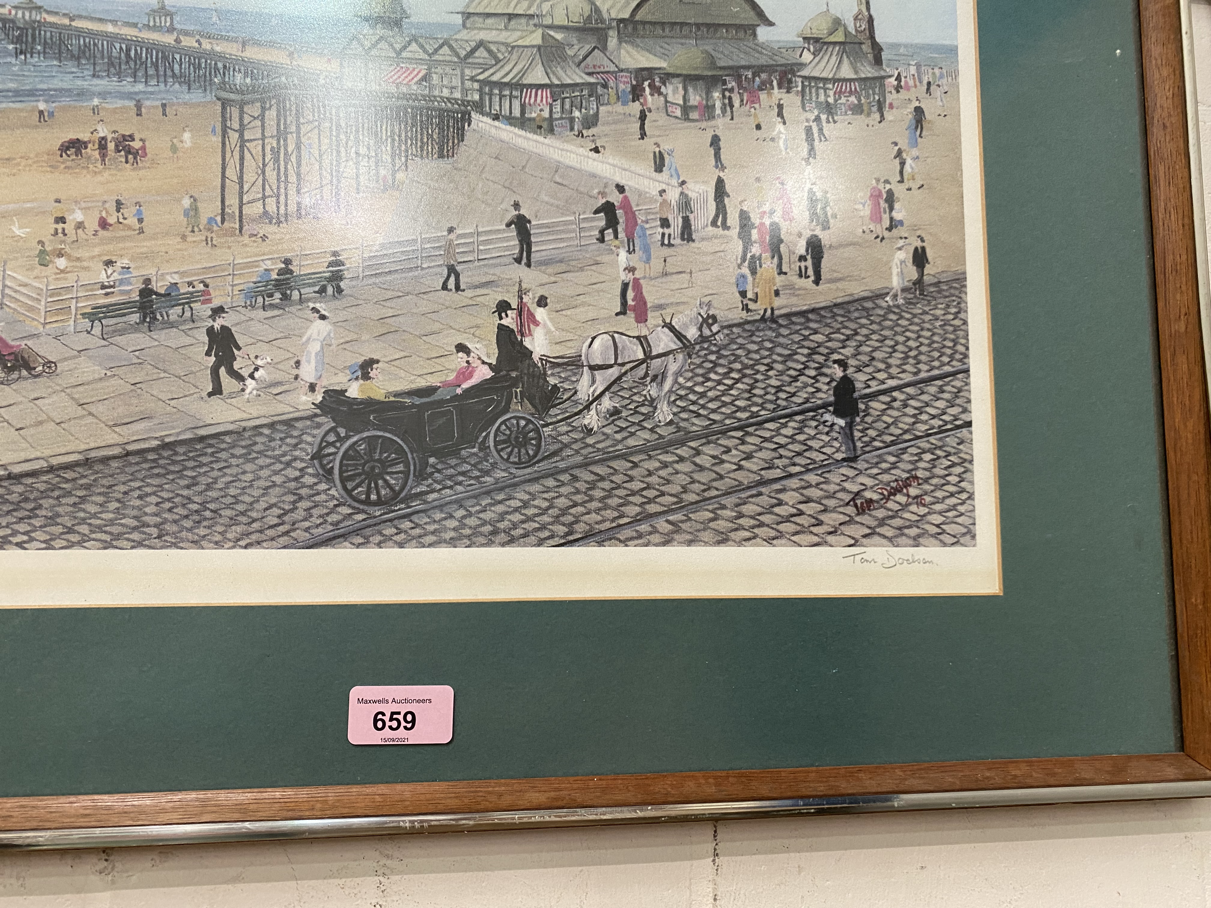 Tom Dodson: limited edition print, Blackpool Pier, signed in pencil, 38 x 45 cm, framed - Image 2 of 2
