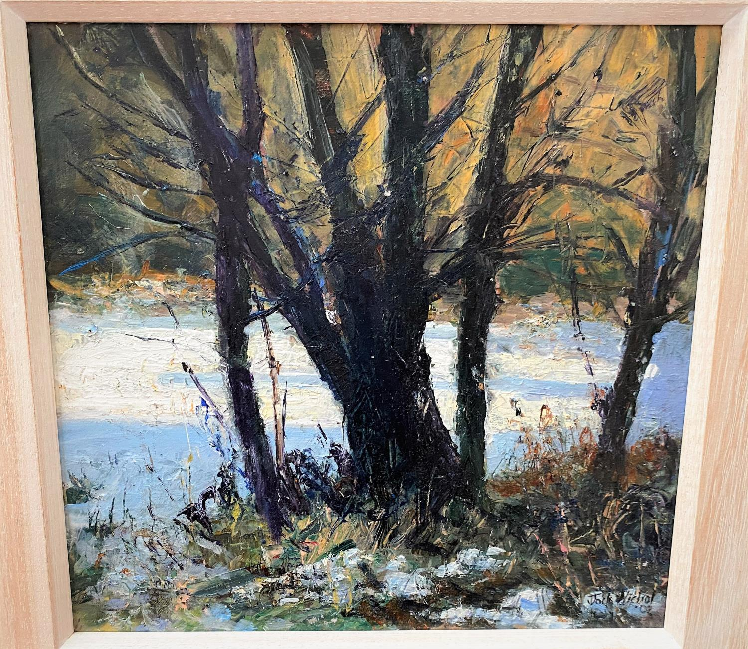 """Jock Nichol (1962) """"The Scent of Snow"""" Acrylic, signed. 30 x 29 cm framed (47 x 46cm overall) - Image 2 of 3"""