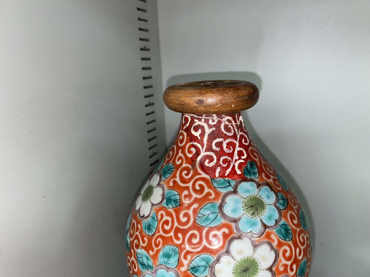 A large Japanese Meiji period double gourd vase with red and gilt decoration of bamboo, fans etc, - Image 5 of 7