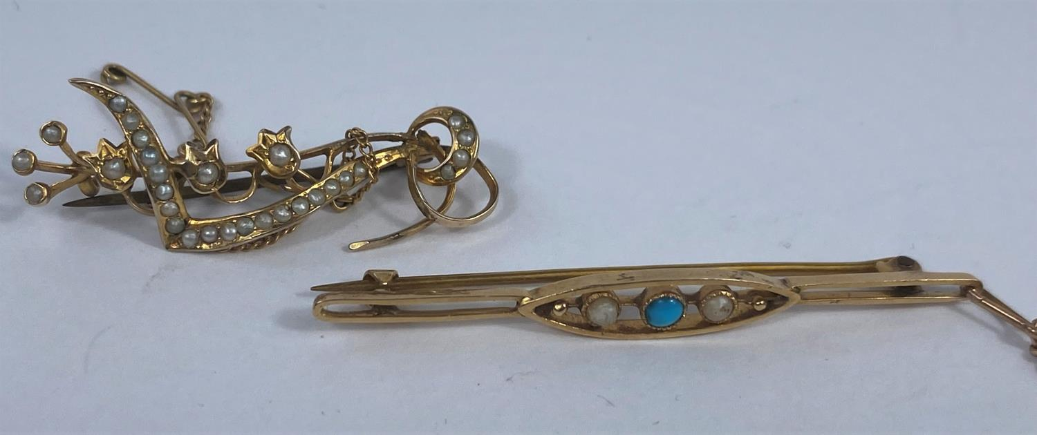 An ornate bar brooch set seed pearls, stamped '9ct'; a yellow metal bar brooch set seed pearl and - Image 3 of 3