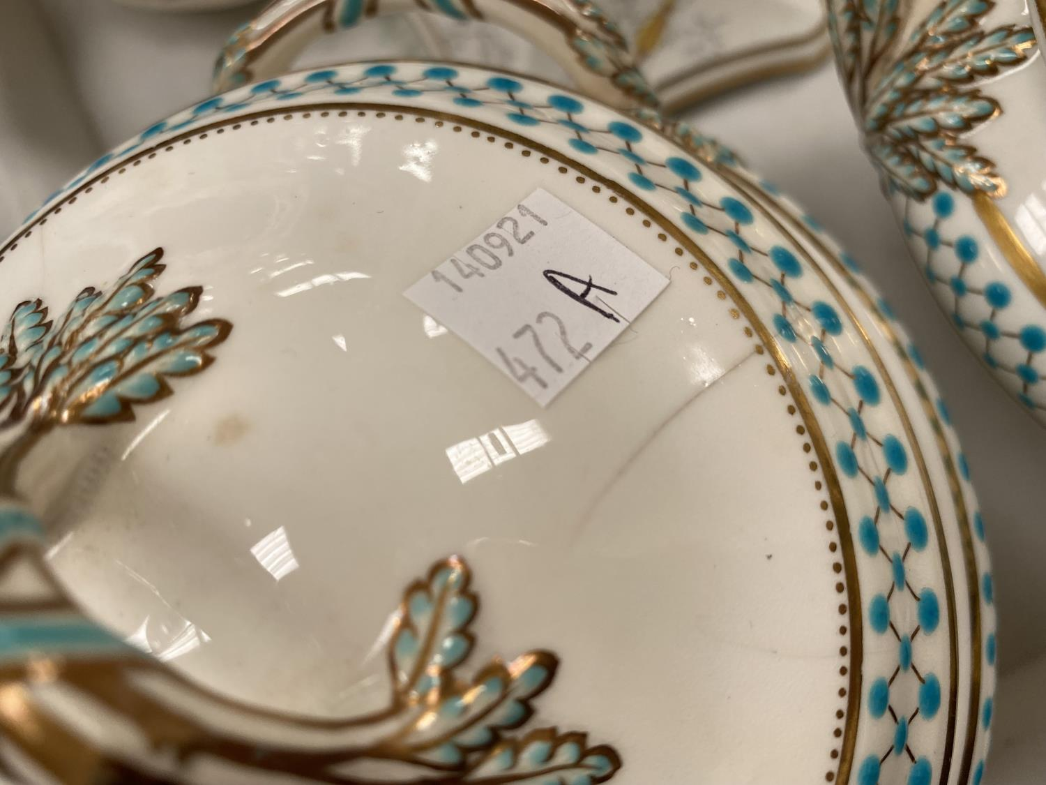 A pair of soup tureens decorated in gilt and turquise (some chips etc); a Coalport candlestick, a - Image 5 of 5