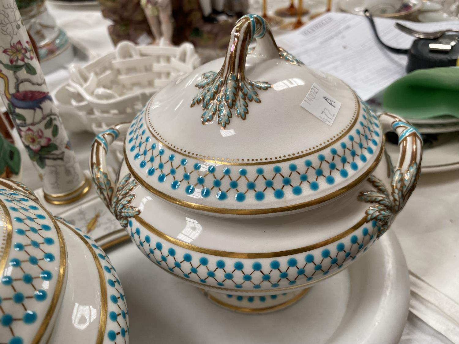 A pair of soup tureens decorated in gilt and turquise (some chips etc); a Coalport candlestick, a - Image 2 of 5