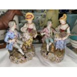 Two late 19th/early 20th century Meissen style groups of couples in 18th century dress (1 with