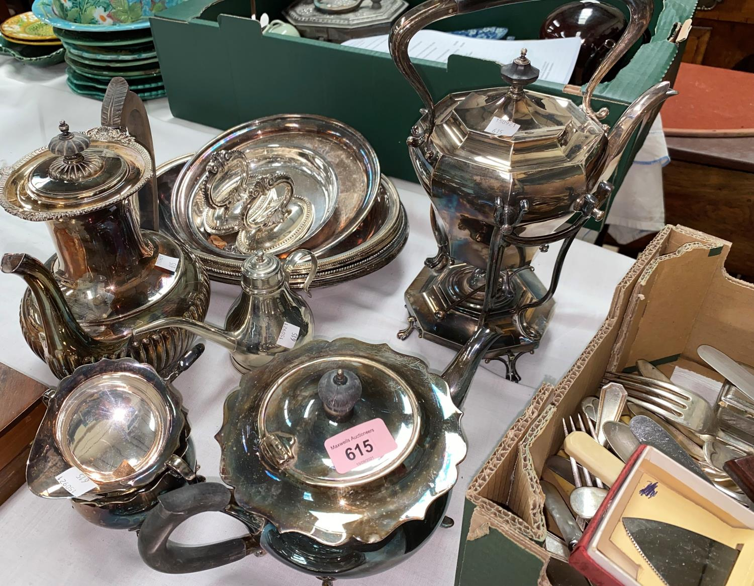 A silver plated 4 piece tea set; a spirit kettle; other silver plate and cutlery