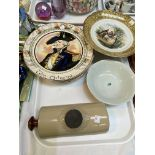 A Royal Doulton plate, 'The Admiral' D6278; a stone ware bed warmer, a Chinese painted bowl and a