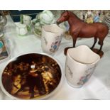 """A Beswick horse: """"Thoroughbred""""; a 1950's pair of Crown Ducal vases; etc."""