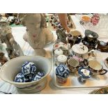 A Selection of Victorian and decorative pottery including collectors' plates, Blacko pottery sea