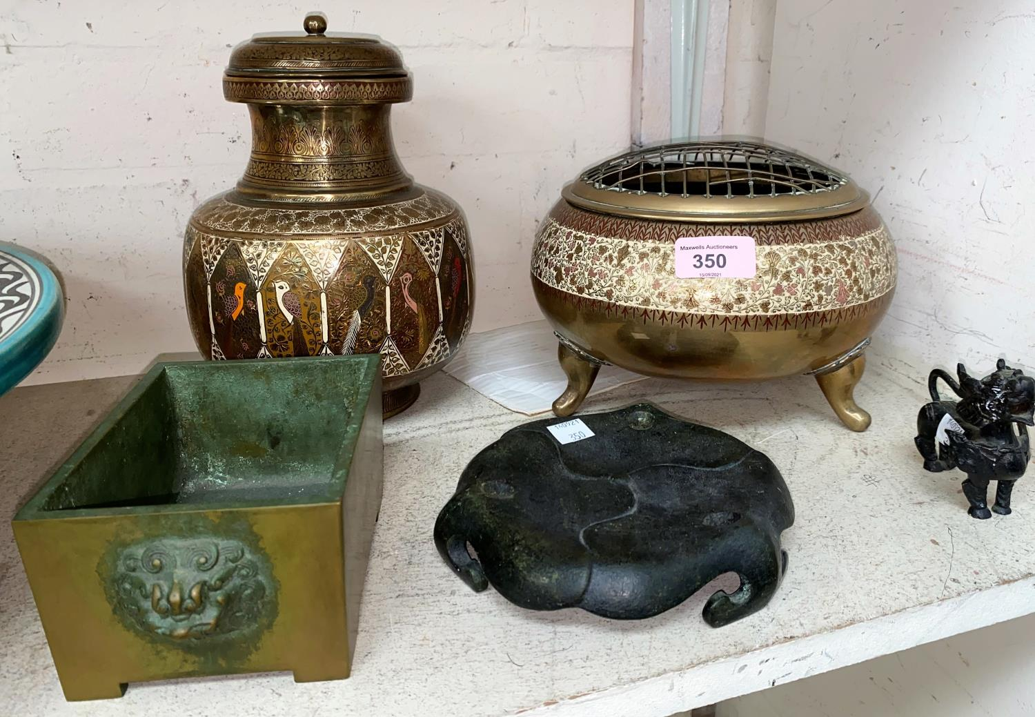A selection of oriental and other bronze and other metalware including small Chinese square