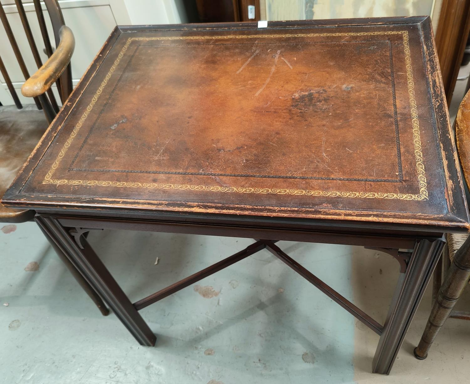 A reproduction mahogany occasional table with rectangular inset leather top; a mahogany - Image 2 of 2