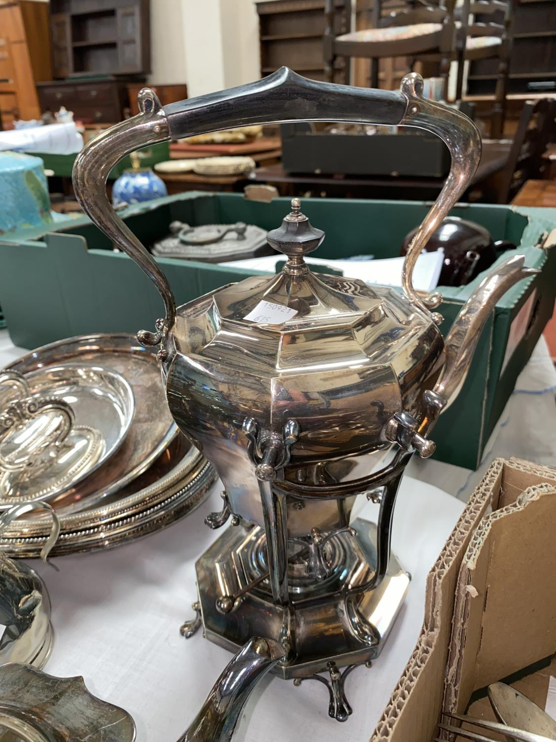 A silver plated 4 piece tea set; a spirit kettle; other silver plate and cutlery - Image 3 of 3
