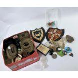 An 1891 crown; enamel pendants; costume jewellery; military items; bric-a-brac
