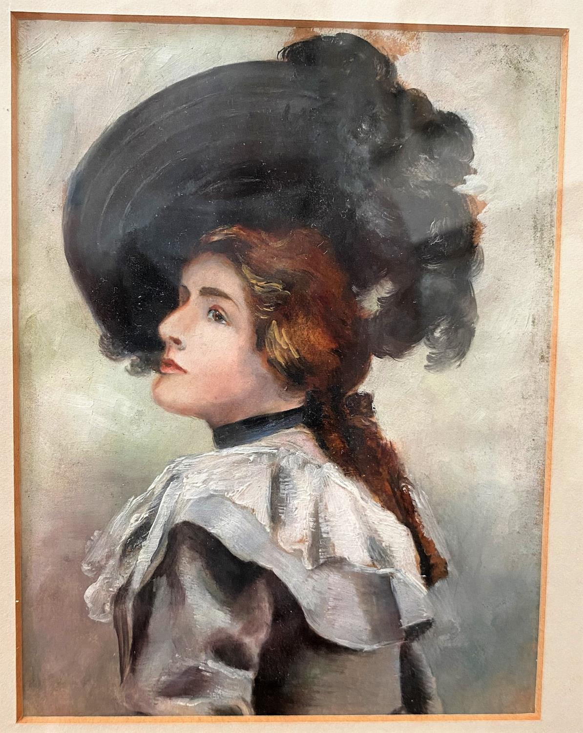 British early 20th century: oil on paper, half length portrait of a Gibson Girl, unsigned, 15 x 11 - Image 2 of 2